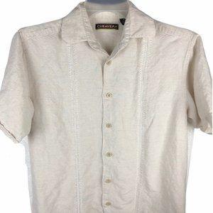 Cubavera Hawaiian Button Shirt Linen Small Mens